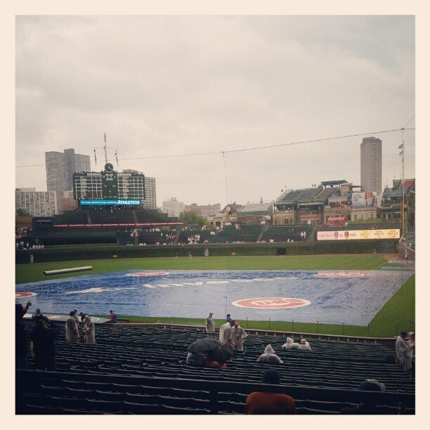 About an hour until the game starts. Rain is abating, so hopefully we lose the tarp soon.