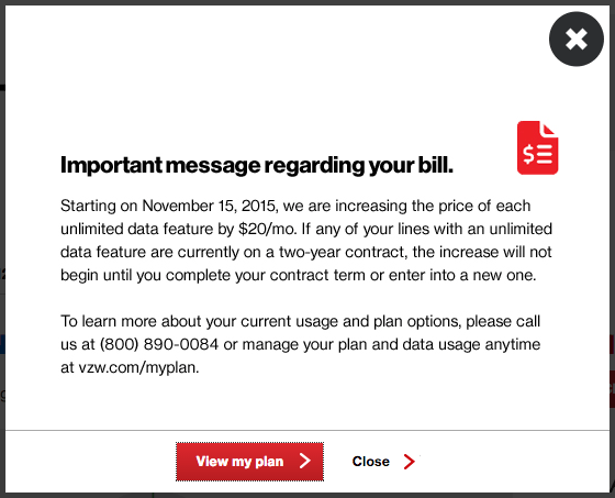 VZW Unlimited Data Upcharge