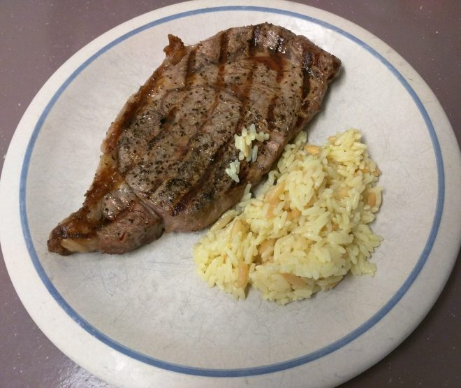 Steak and rice pilaf